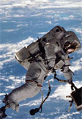 Dr. David Wolf during a spacewalk