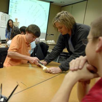 Students get hands-on experience in labs.